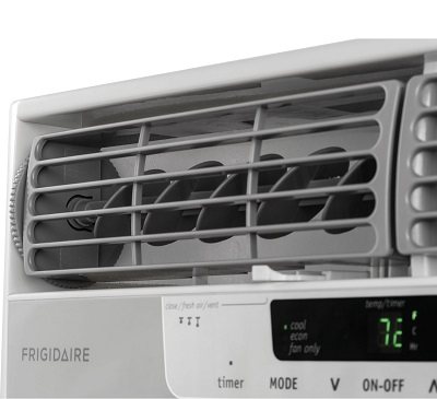 Frigidaire FFRA1222R1 12000 BTU 115-volt Window-Mounted Compact Air Conditioner close-up.